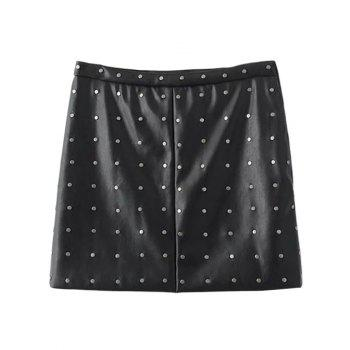 Rivet PU Leather A-Line Skirt