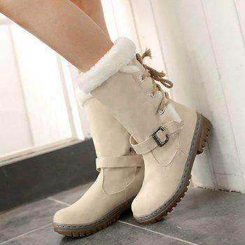 Lace Up Mid Calf Boots - OFF WHITE OFF WHITE