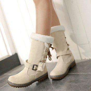 Lace Up Mid Calf Boots - OFF WHITE 39