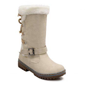 Lace Up Mid Calf Boots - OFF-WHITE 39
