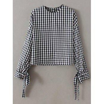 Checked Buttoned Loose Blouse