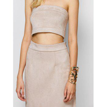 Suede Bodycon Midi Skirt with Tube Top - LIGHT APRICOT PINK LIGHT APRICOT PINK