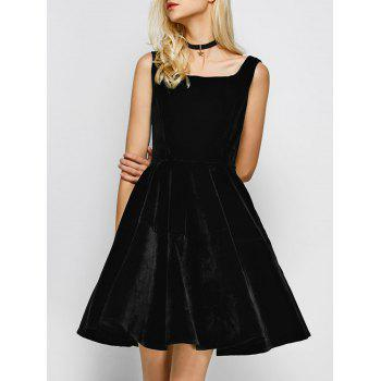 Vintage Square Neck Velvet Formal Short Dress
