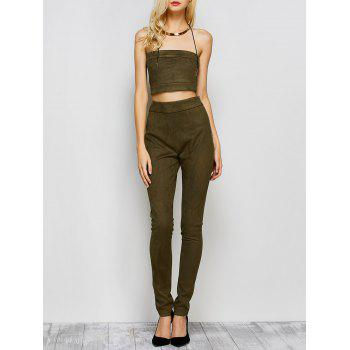 Suede High Waisted Pants with Tube Top