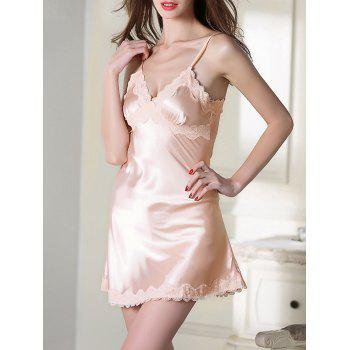 Satin Lace Trim Cami Sleep Dress