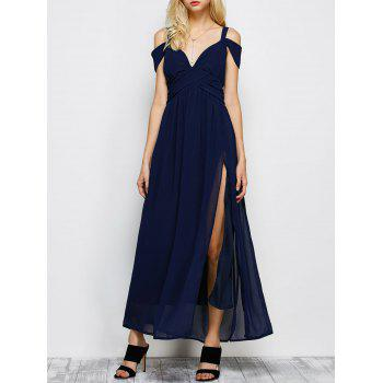 Cold Shoulder Chiffon Split Maxi Long Evening Dress - PURPLISH BLUE 2XL