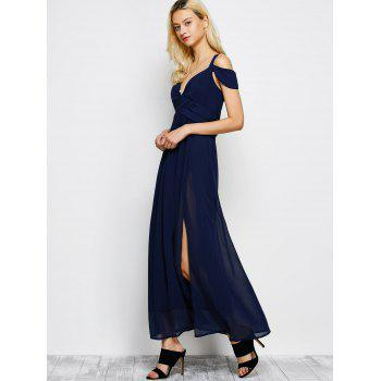 Cold Shoulder Chiffon Split Maxi Prom Evening Dress - PURPLISH BLUE PURPLISH BLUE