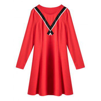 Plus Size V Panel Long Sleeve A Line Dress - RED RED