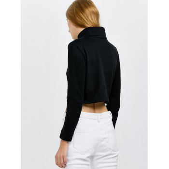 Lace Up Long Sleeve Crop Top - BLACK XL