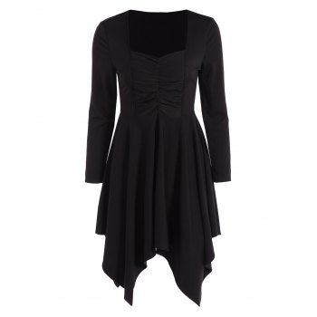 Long Sleeves Ruched Asymmetric Swing Dress - BLACK BLACK