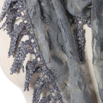 Leaf Tassel Lace Triangle Scarf - DEEP GRAY