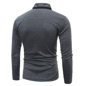 Single Breasted Stand Collar Pockets Cotton Jacket - DEEP GRAY L