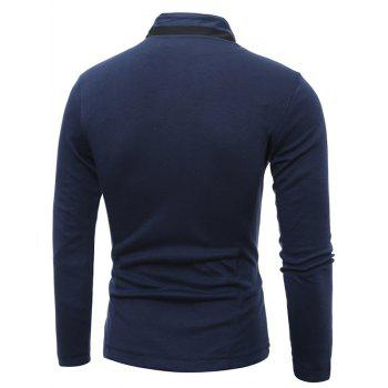 Single Breasted Stand Collar Pockets Cotton Jacket - CADETBLUE 2XL