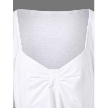 Butterfly Sleeve Asymmetrical Plus Size Tee - WHITE 3XL