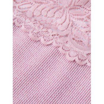 Plus Size Lace Insert Long Sleeve Knit Dress - PINK XL