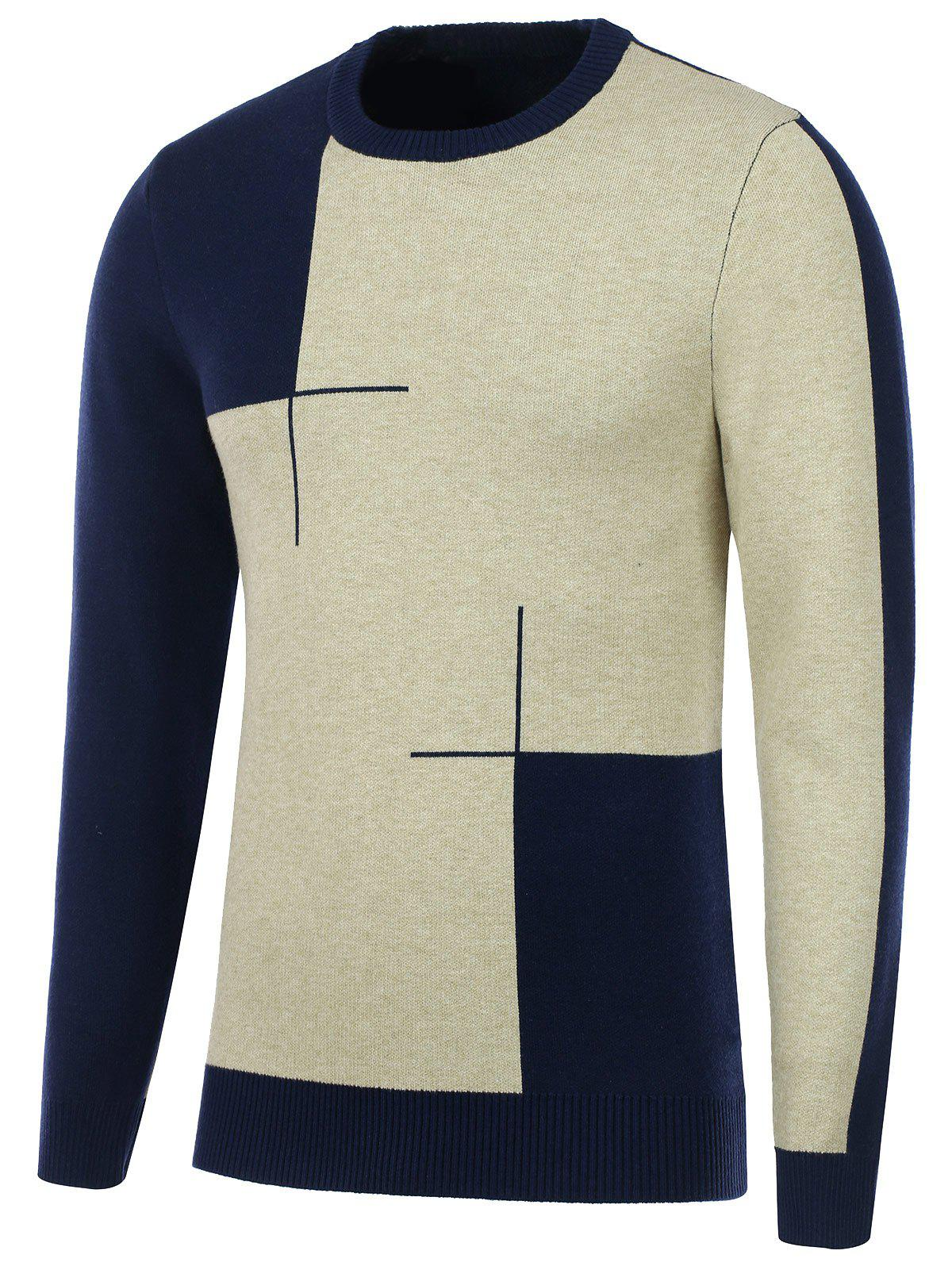 Two Tone Crew Neck Knitted Sweater - CADETBLUE L
