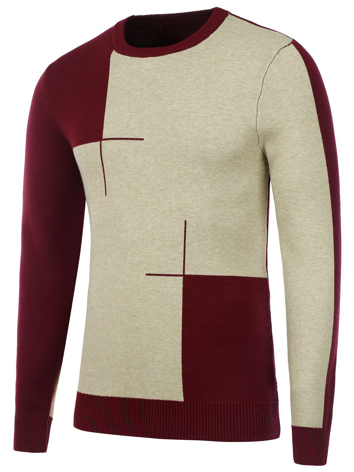 Two Tone Crew Neck Knitted Sweater - BURGUNDY M