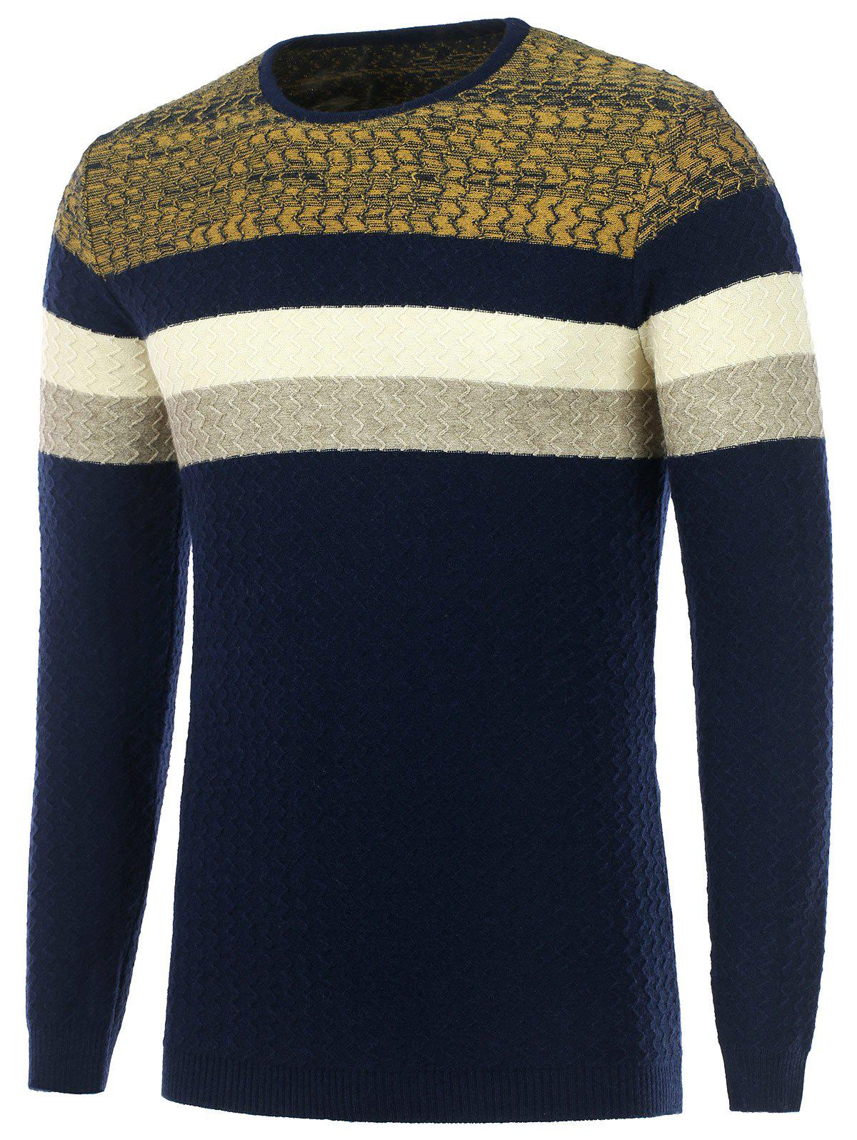 Wavy Stripes Knitted Color Matching Sweater - CADETBLUE L