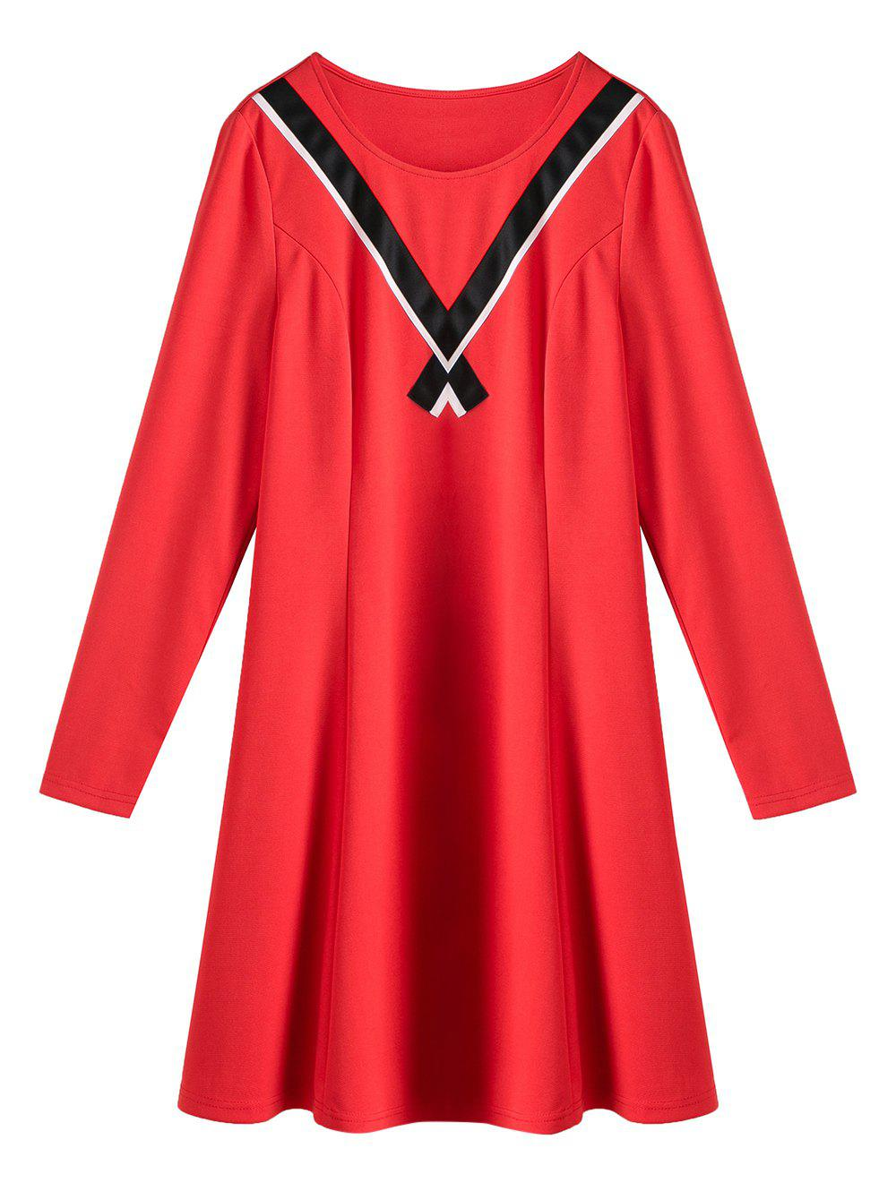 Plus Size V Panel Long Sleeve A Line Dress - RED 4XL
