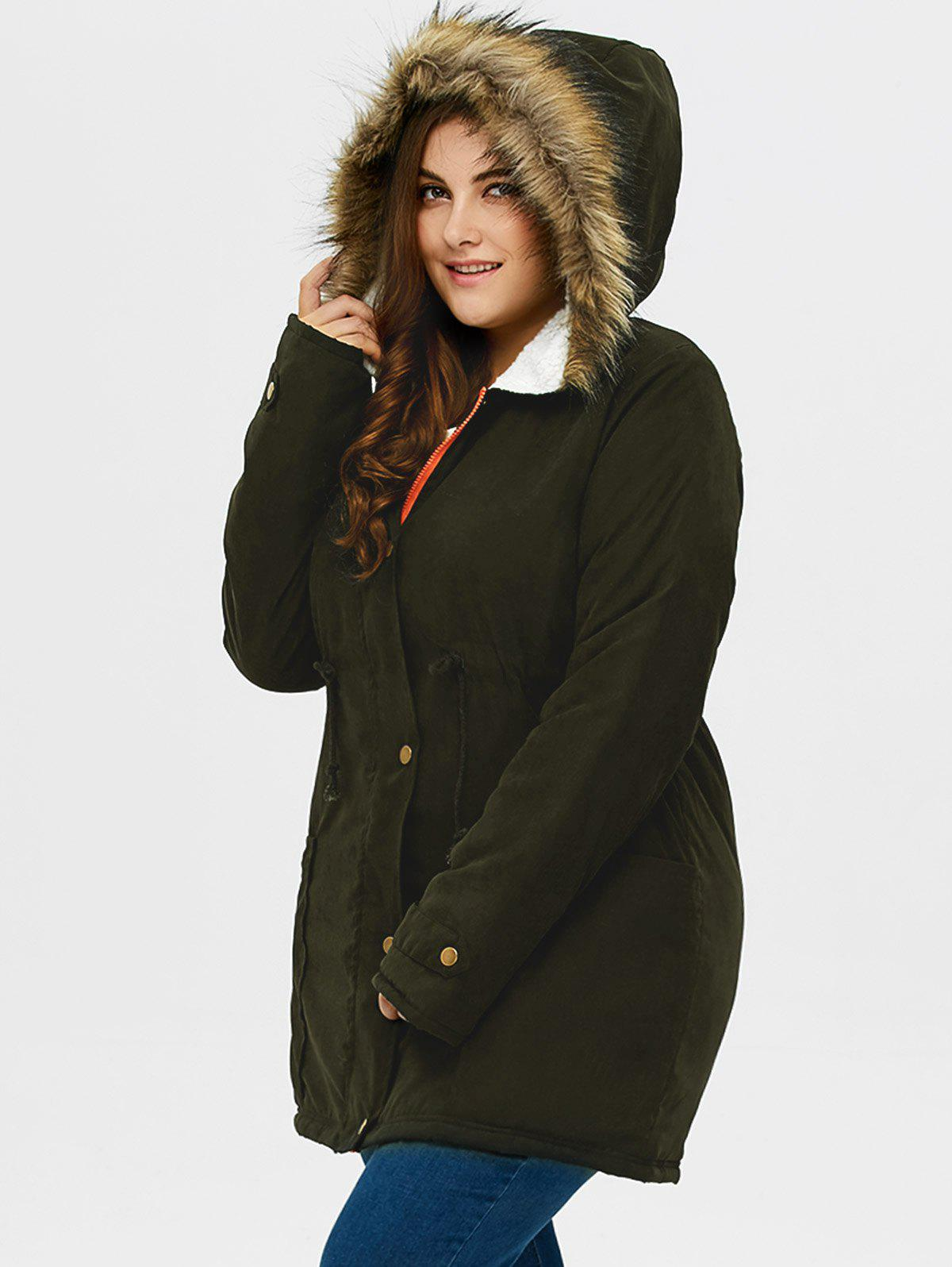 Buy Plus Size Drawstring Hooded Parka Coat ARMY GREEN