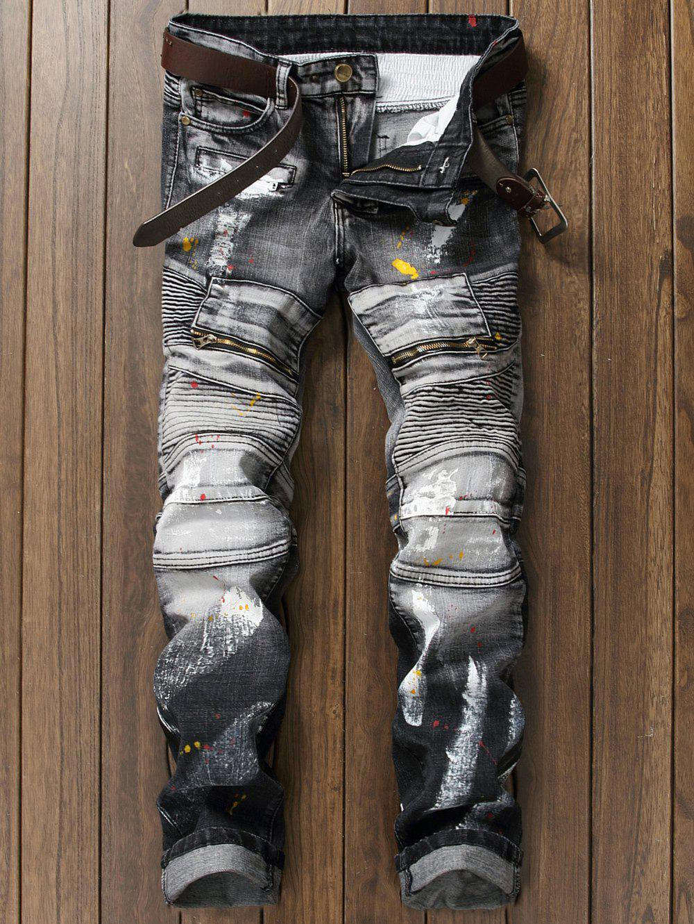 Rib Panel Paint Splatter Zippered Straight Jeans - GRAY 29