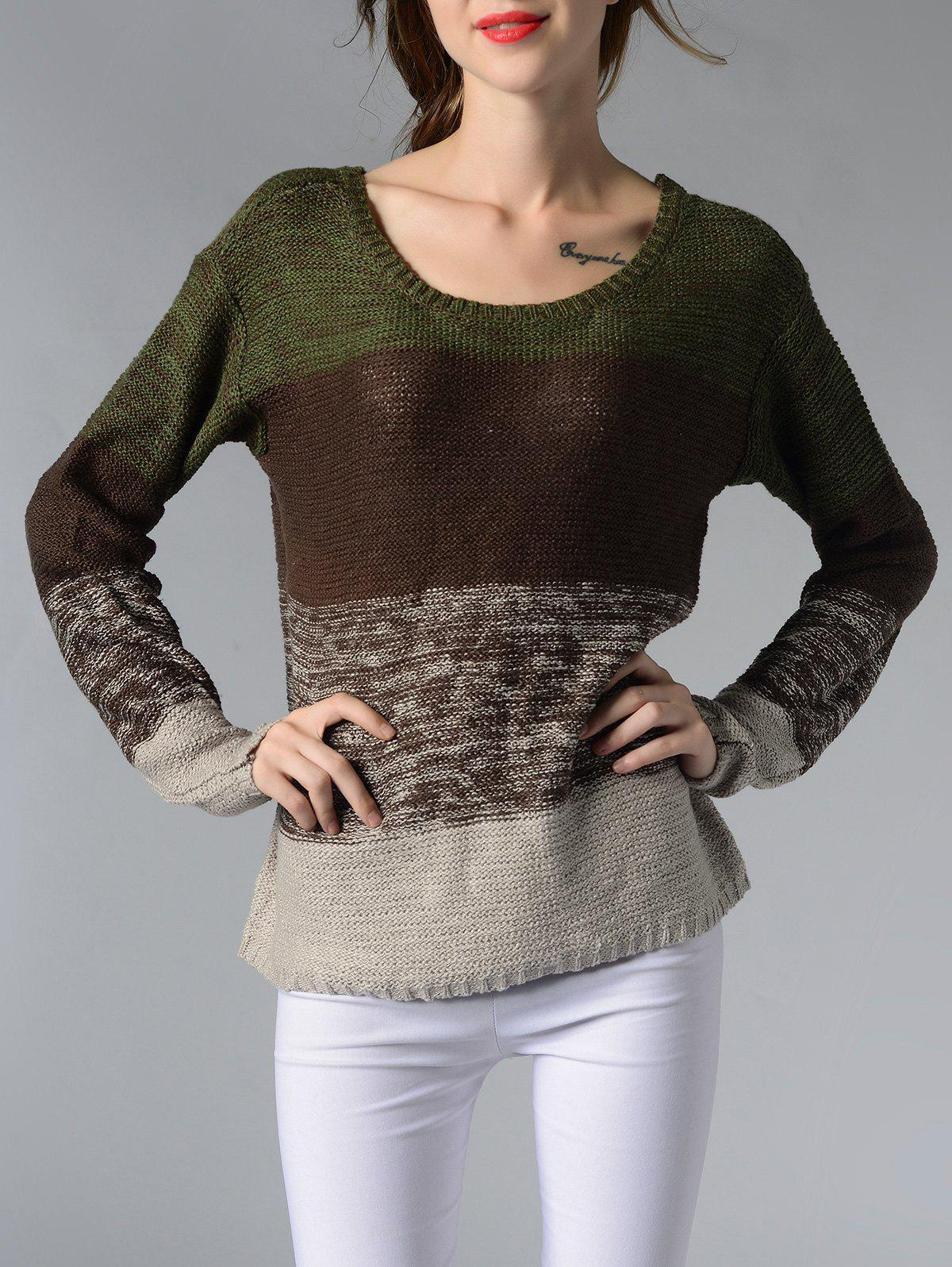Chic Scoop Neck Long Sleeve Color Block Women's Sweater - BROWN XL