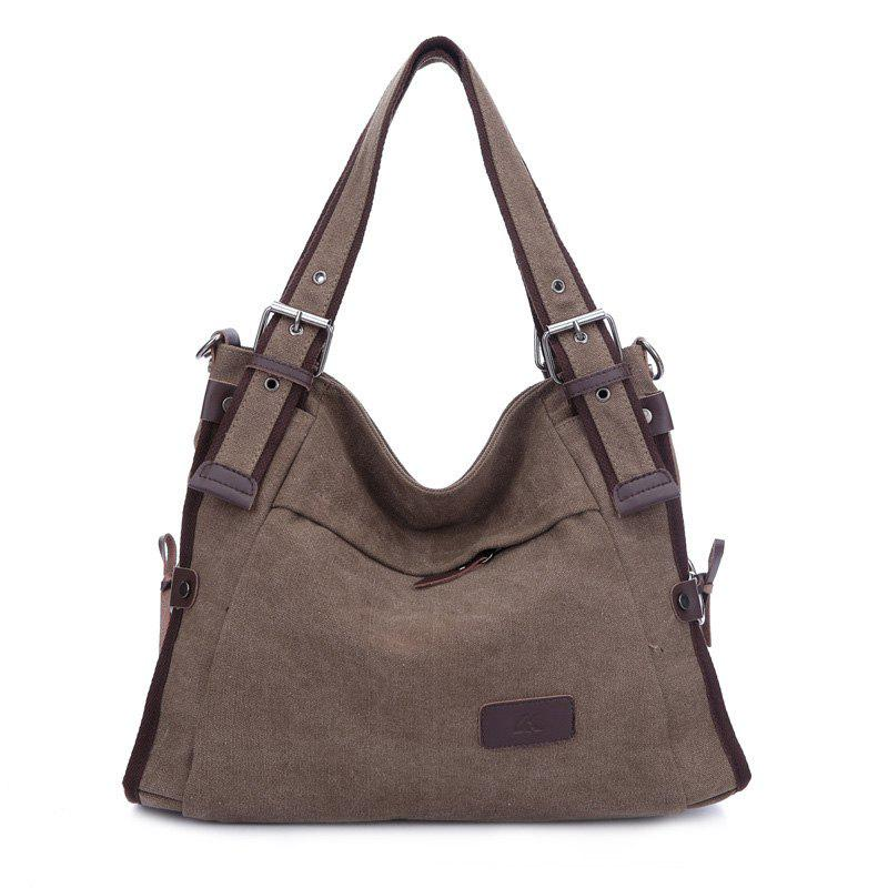 Canvas Buckles Shoulder Bag - LIGHT COFFEE