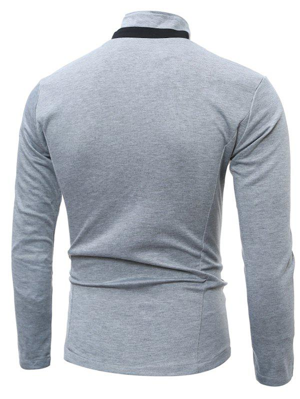 Single Breasted Stand Collar Pockets Cotton Jacket - LIGHT GRAY M