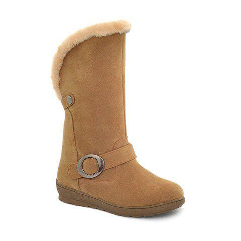 Buckle Strap Faux Fur Mid Calf Boots - YELLOW 38