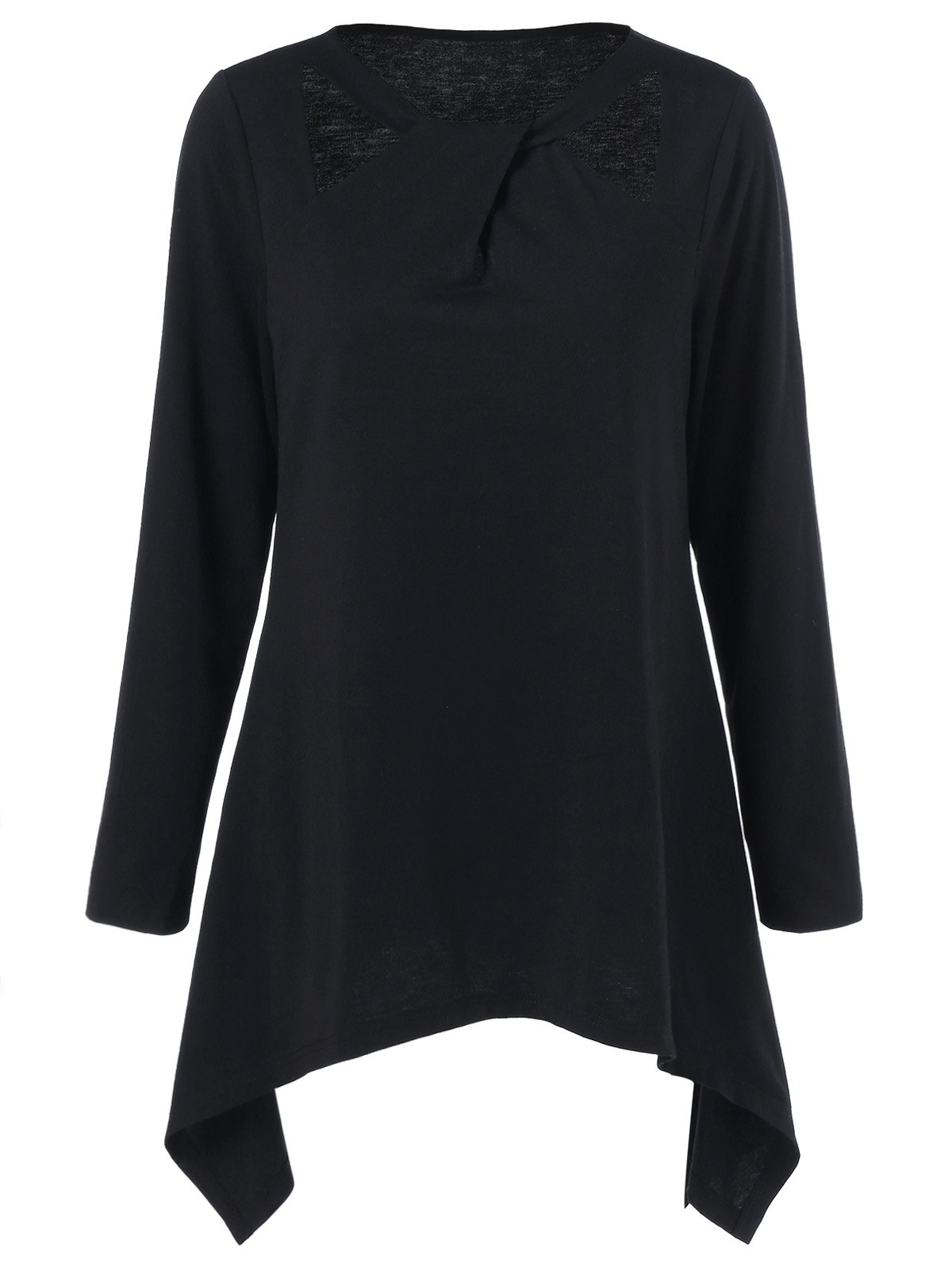 Cut Out Asymmetrical Plus Size Tee - BLACK 4XL