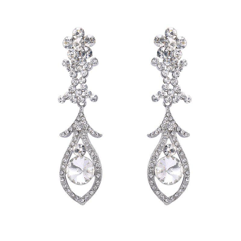 Pair of Rhinestone Floral Drop Earrings - SILVER