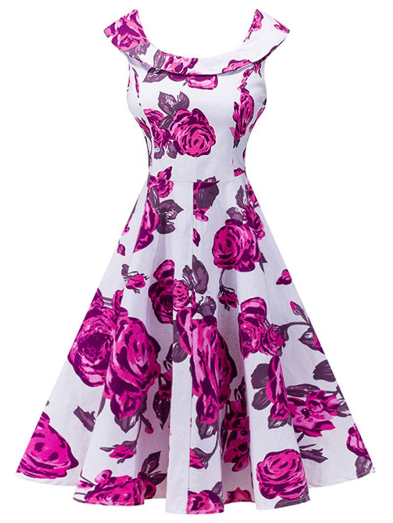 Retro Floral Print High Waist Dress - ROSE RED S