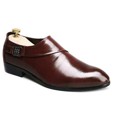 Trendy Elastic and Metal Design Men's Formal Shoes - DARK AUBURN 42