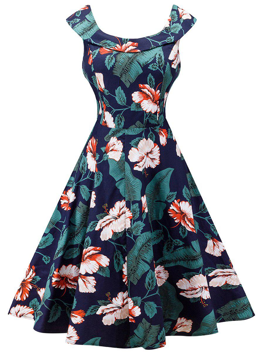 Retro Floral Print High Waist A Line Dress - PURPLISH BLUE XL
