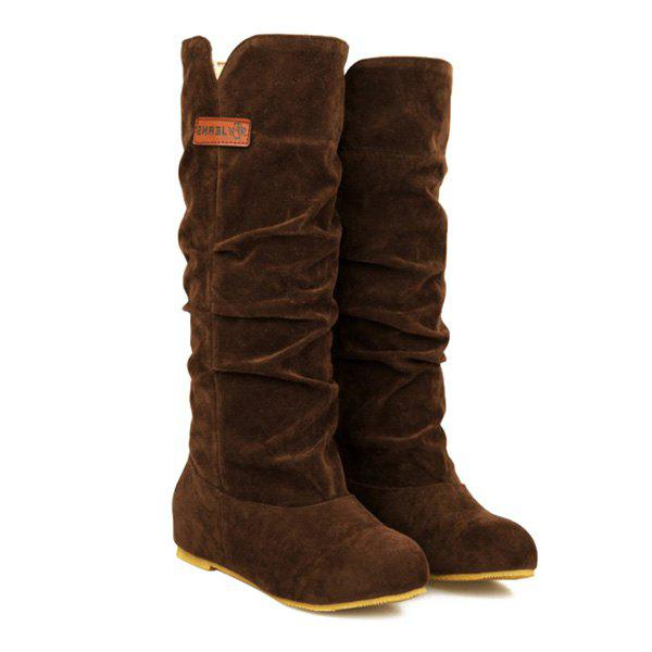 Suede Ruched Mid Calf Boots - BROWN 39