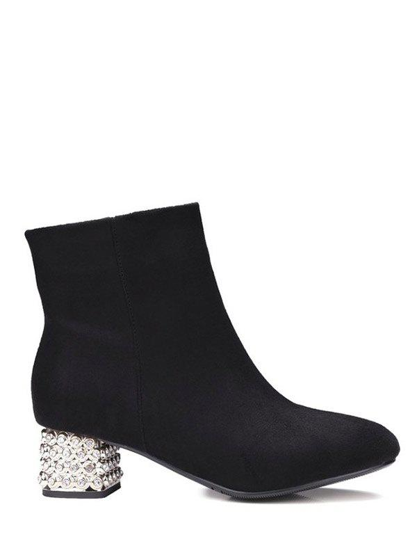 Zipper Square Toe Rhinestones Ankle Boots - BLACK 39
