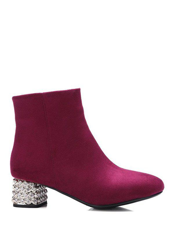 Zipper Square Toe Rhinestones Ankle Boots - BURGUNDY 37