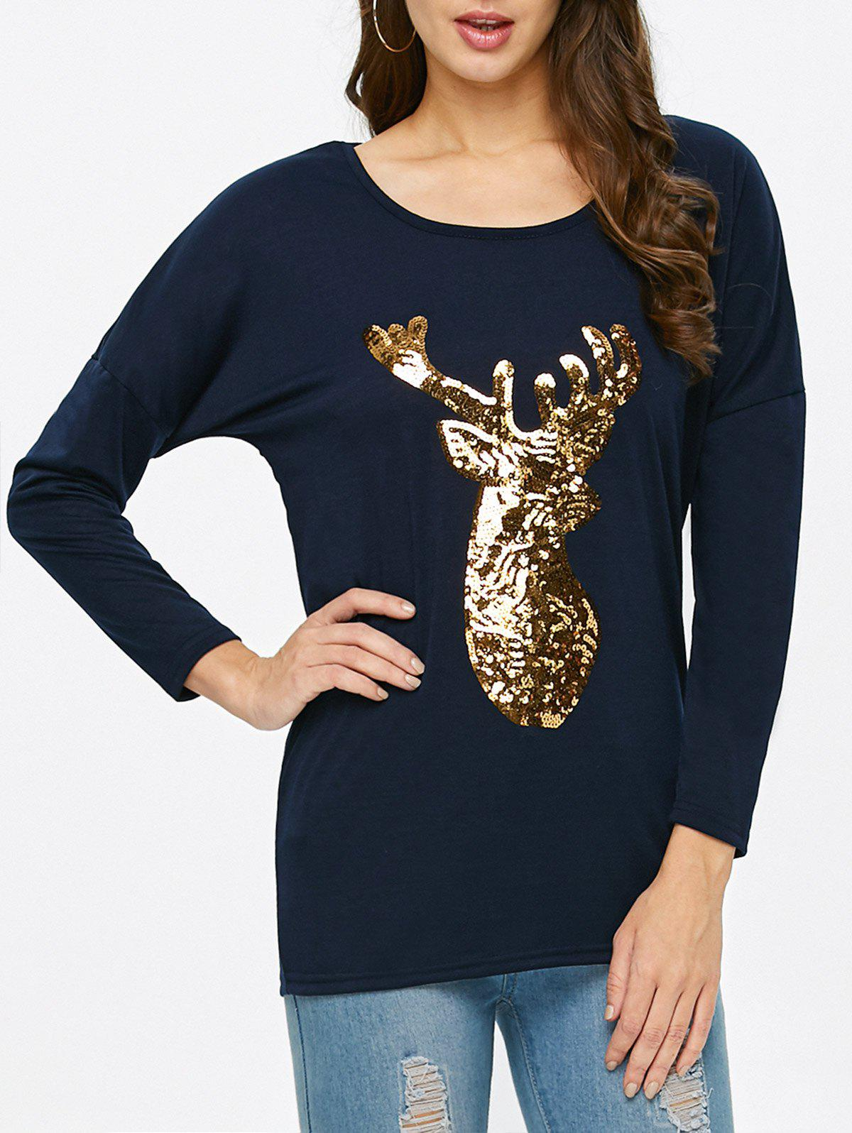 Deer Print Christmas Tee - PURPLISH BLUE XL