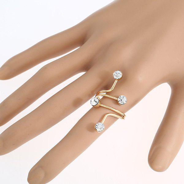 Rhinestones Inlay Electroplate Layered Spiral Ring - GOLDEN ONE-SIZE