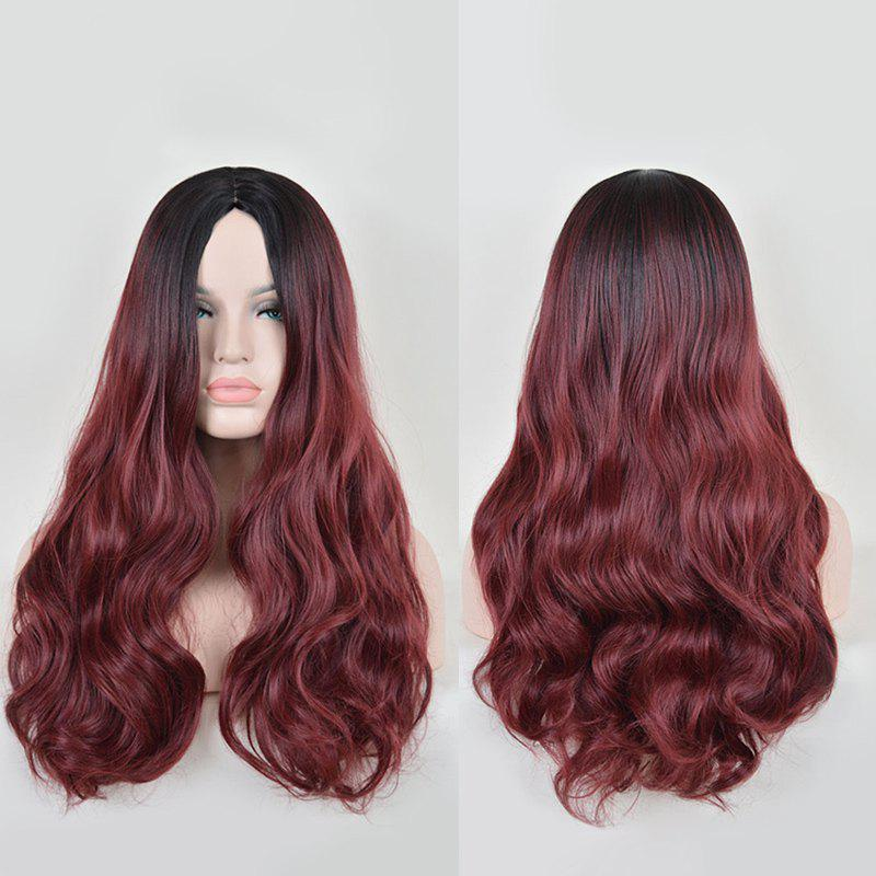 Faddish Long Wavy Middle Part Lace Front Synthetic Wig