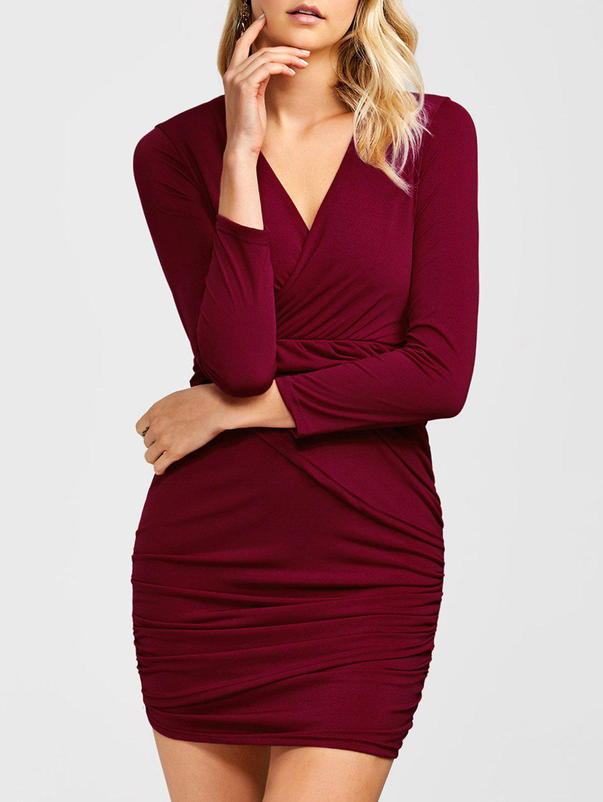 Ruched Surplice Long Sleeve V Neck Mini Party Bodycon Dress scrunch ruched surplice t shirt