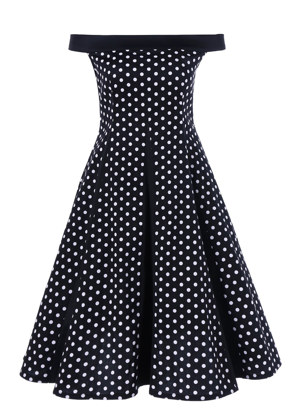 Off The Shoulder Polka Dot Vintage Dress off shoulder polka dot top with splited dress