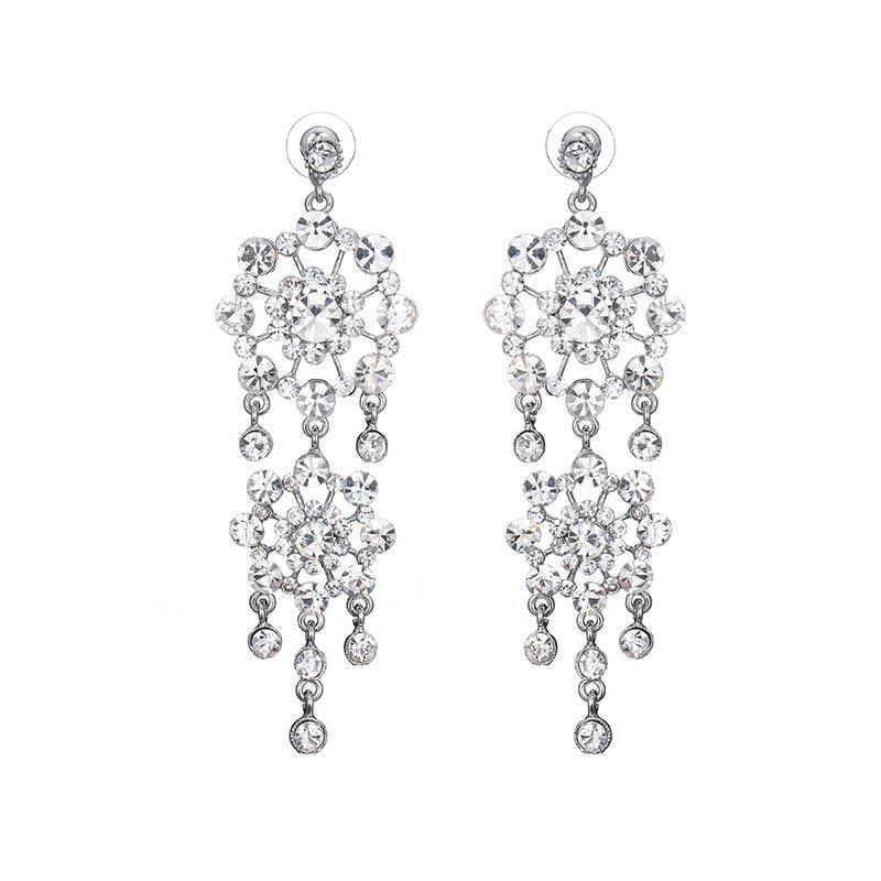 Pair of Rhinestone Floral Fringed Drop EarringsJewelry<br><br><br>Color: SILVER