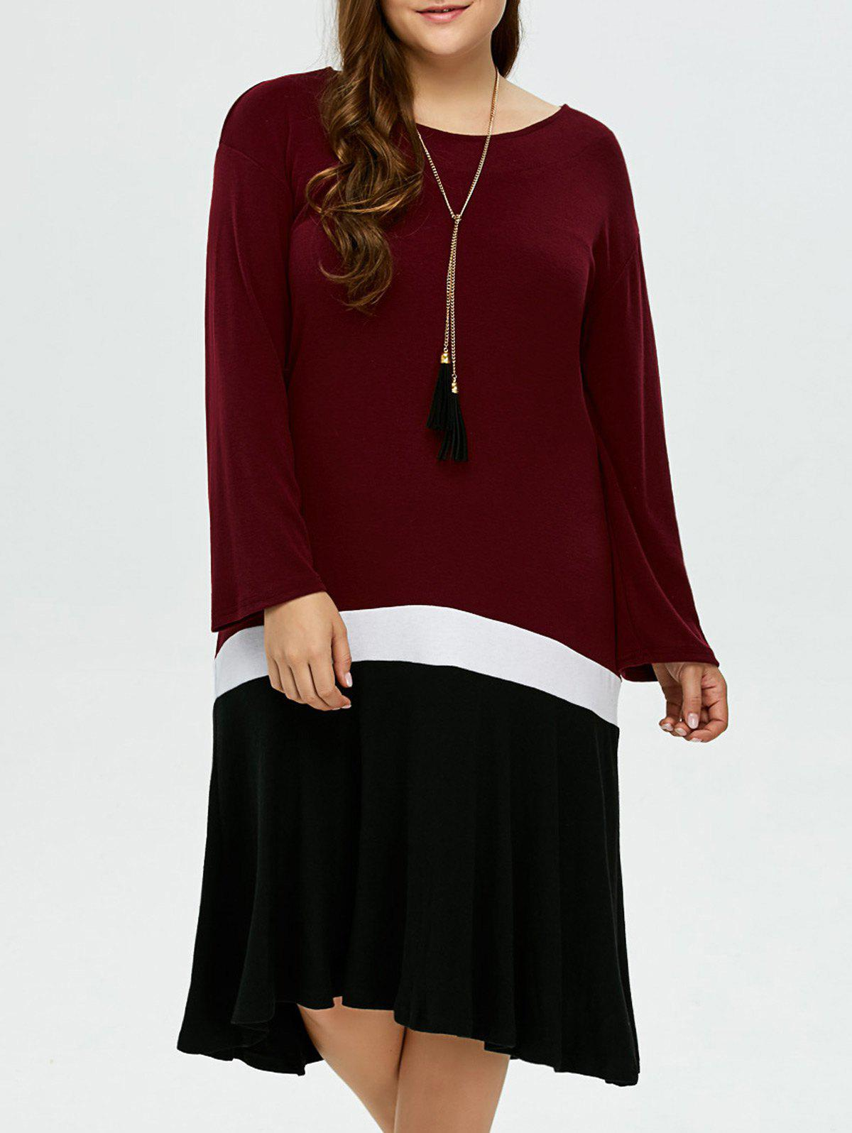 Plus Size Color Block Smock DressWomen<br><br><br>Size: 3XL<br>Color: BLACK AND WHITE AND RED