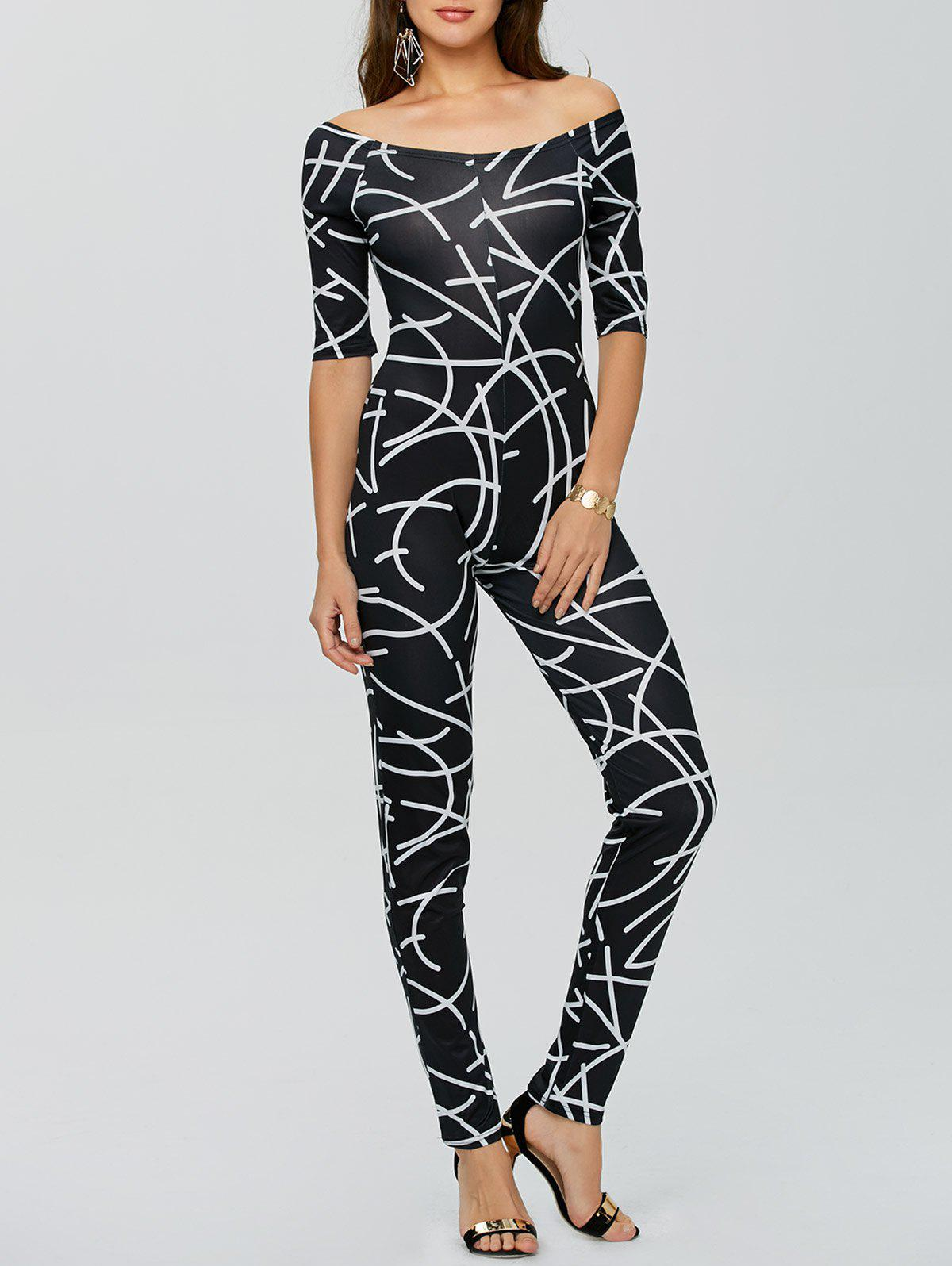 Off The Shoulder Printed Bodycon Jumpsuit - BLACK S