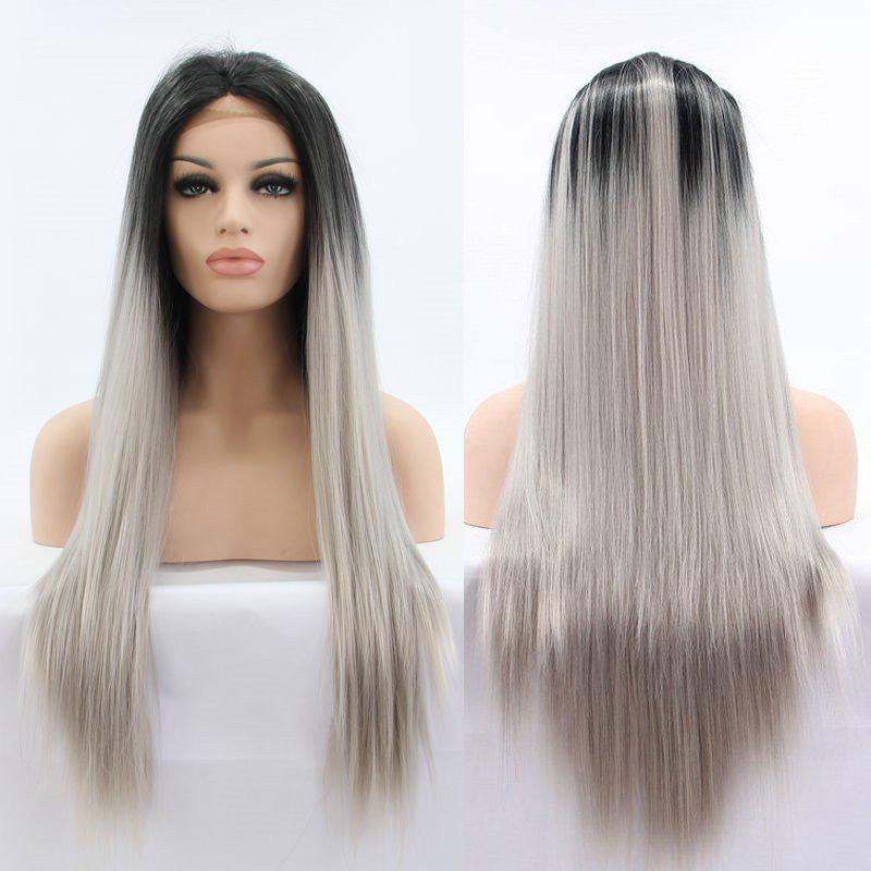 Long Ombre Color Straight Faddish Lace Front Synthetic Wig dark to brown body wavy ombre synthetic lace front wig ombre synthetic lace front wig cosplay heat resistant