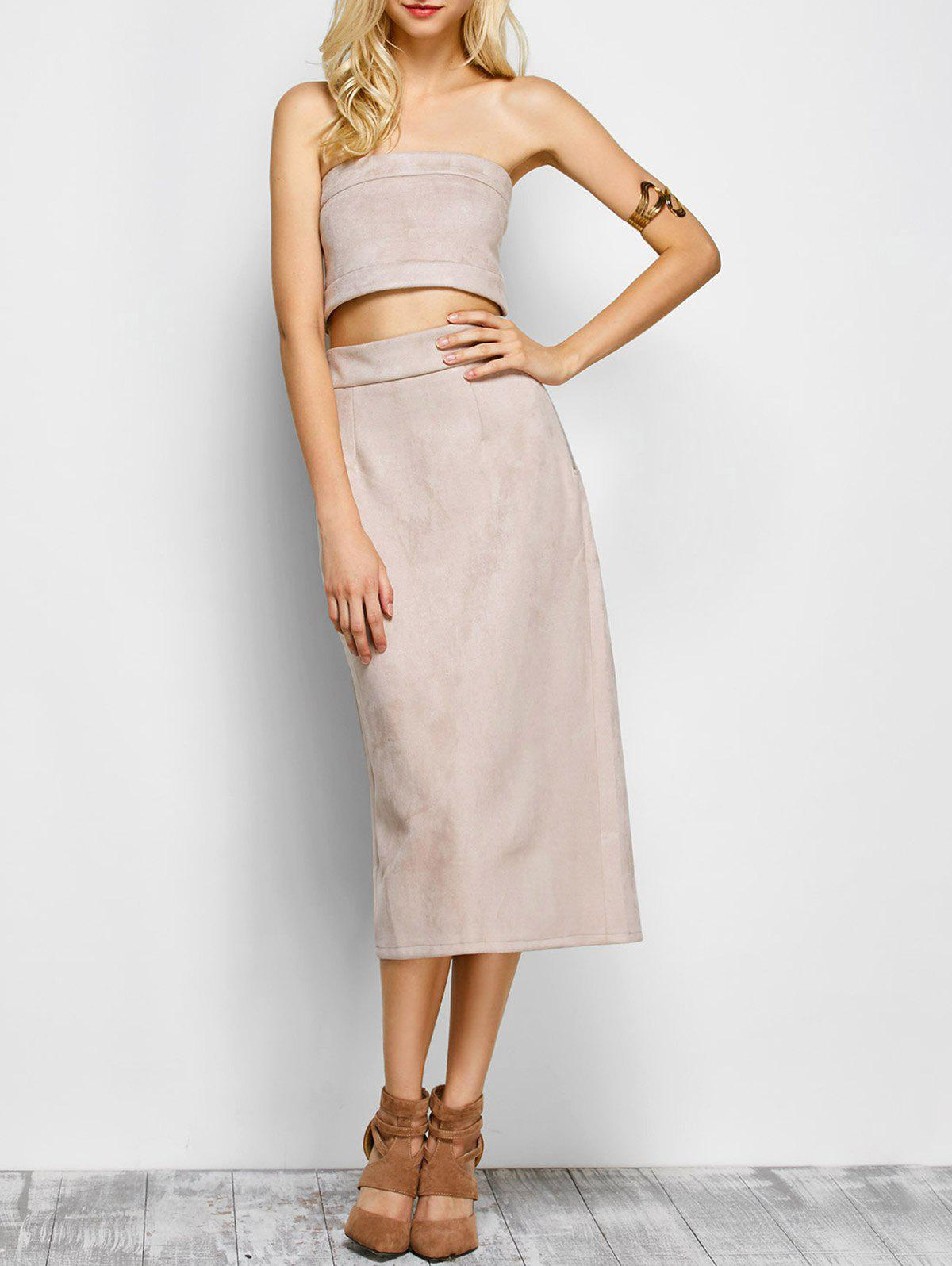 Suede Bodycon Midi Skirt with Tube Top - LIGHT APRICOT PINK S