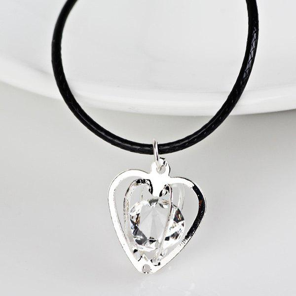 Rhinestone Heart Faux Leather Rope Necklace