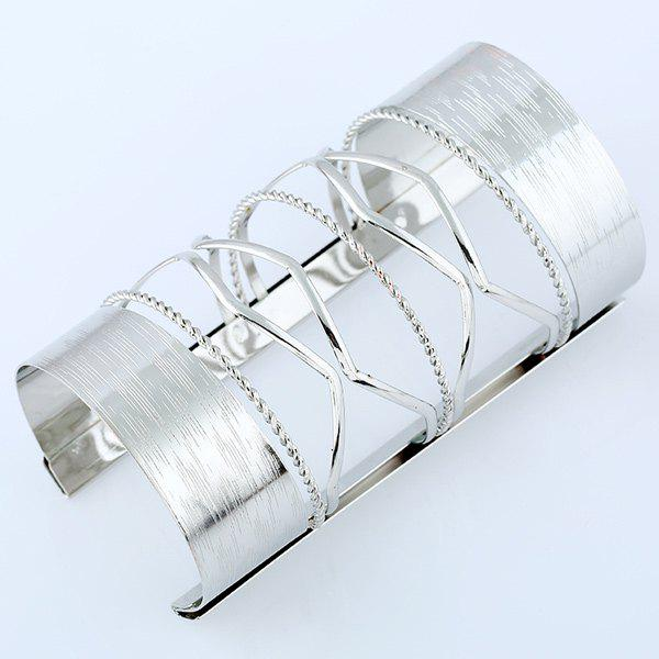 Hollow Out Cable Wire Long Open Cuff Bracelet - SILVER