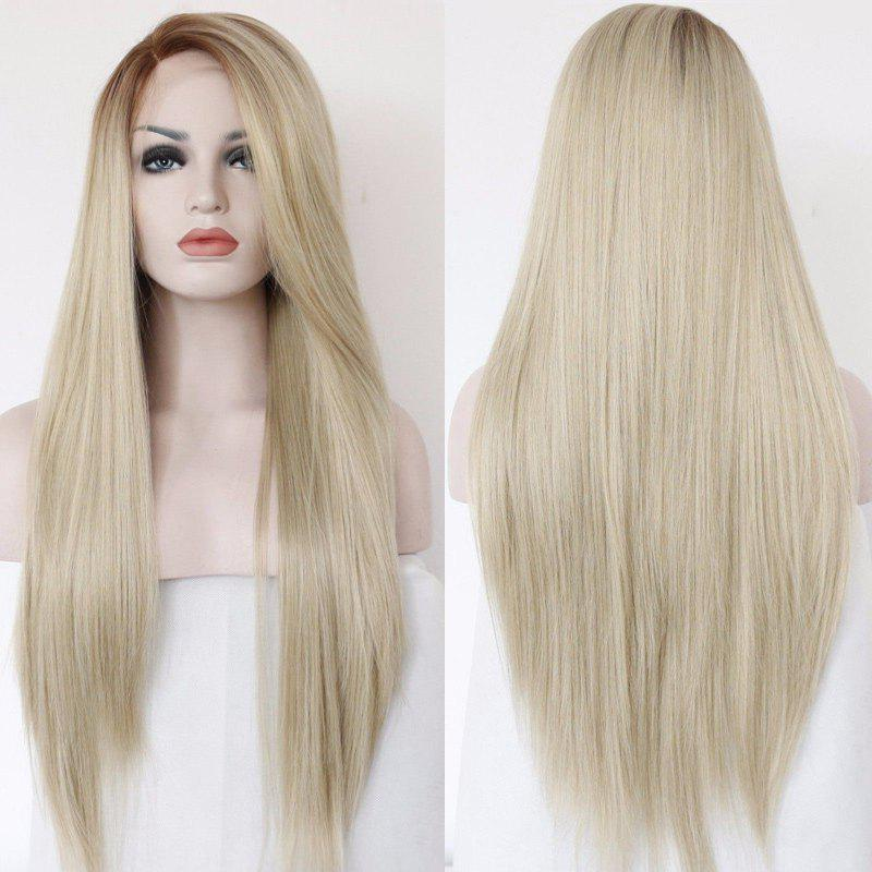 Long Side Parting Straight Faddish Lace Front Synthetic Wig jet black 1 body wave side parting space synthetic lace front wig heat resistant
